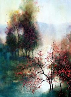 Fine Art and You: Beautiful Watercolor Landscape Paintings by ZL Feng Watercolor Landscape Paintings, Watercolor Trees, Watercolor Artists, Landscape Art, Easy Watercolor, Painting Art, Abstract Watercolor, Watercolor Tattoo, Art Amour
