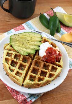 jalapeno and cheddar keto waffles Keto Waffle, Waffle Mix, Waffle Iron, Waffle Recipes, Low Carb Breakfast, Breakfast Recipes, Dessert Recipes, Atkins Breakfast, Ketogenic Breakfast