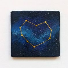 Heart Constellation Magnet Star Constellation Valentines | Etsy Easy Canvas Art, Simple Canvas Paintings, Small Canvas Art, Easy Canvas Painting, Cute Paintings, Mini Canvas Art, Small Paintings, Original Paintings, Star Painting