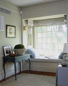blue and white nook with checked seating ~ Christopher Maya design