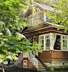 Pretty sure my mansion in heaven will look something like this. Wooden Architecture, Russian Architecture, Dream Properties, Unusual Homes, House Windows, Wooden House, Cabin Plans, Future House, Beautiful Homes