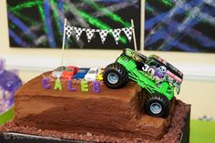"Maybe for Seans birthday! Photo 5 of monster trucks/racing/cars / Birthday ""Caleb's Birthday Monster Truck Party"" Monster Jam Cake, Monster Truck Birthday Cake, Monster Truck Party, Digger Birthday, Race Car Birthday, Cars Birthday Parties, Cake Birthday, 5th Birthday, Birthday Ideas"