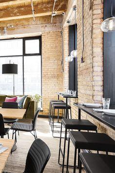 Modern café and restaurant design ideas for hospitality environments. Next Restaurant, Restaurant Design, Modern Cafe, Bar Interior, Retail Space, Modern Spaces, Commercial Interiors, Ottoman, Table
