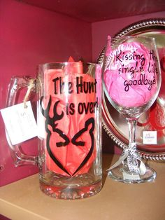 Bachelorette Wine Glass/ Bachelor Beer Mug Custom by rikkijohnson, $14.00