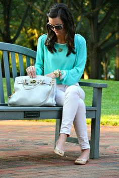 love this color with white pants