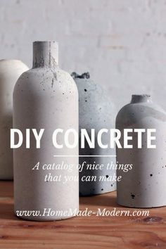DIY: Concrete vase by HomeMade Modern - he also makes light pendants on another page. Like this guys stuff!