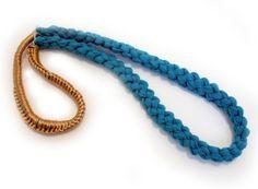 ECO FRIENDLYTurquoise Textile Necklace by narcizoNYC on Etsy, $33.00
