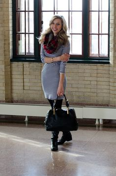First of Mae: 2015 - Look Five. Strip dress from target. Great winter dress. Chloe Janet bag.   Tartan scarf, knee high boots