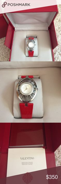 Valentino Watch Beautiful Valentino Watch with red band! Includes box and certificate. The watch is currently not ticking, may be because it has never been worn or because it needs a new battery. Sold as is! Brand new and never worn!! Valentino Accessories Watches