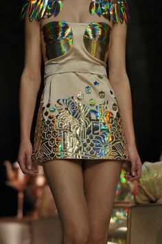 Holograms this Summer's go to prints and designs. We can in vision Scarlet wearing this for a nightout in Paris.