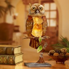 Capiz Shell Electric Luminary – Owl