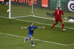 Italy's Diamanti celebrates after scoring a winning penalty goal against England's Joe Hart during their Euro 2012 quarter-final soccer match at the Olympic stadium in Kiev. MICHAEL DALDER/REUTERS