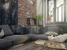 Грубость жизни - 3D-проекты интерьеров в стиле лофт | PINWIN - конкурсы для архитекторов, дизайнеров, декораторов