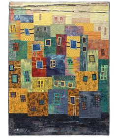 """BARRIO DE TANGO - 50"""" x 60""""   hand dyed, hand stamped and commercial fabrics,   machine pieced, machine quilted.  Hilde Morin"""