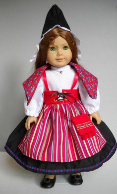 "Fits 18"" American Girl doll Sweden SWEDISH folk dress clothes F (COSTUME ONLY #Handmade #ClothingShoes"