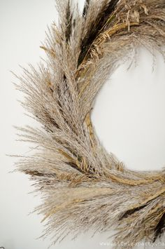 Pampas Grass Wreath: This inexpensive DIY wreath is made from foraged grasses. Perfect for fall, easy to make and full of texture. Diy Wreath, Grapevine Wreath, Wreaths, Wreath Ideas, Pumpkin Patch Farm, Straw Wreath, Wild Grass, Study Nook, Wreath Forms