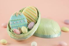 Easter Egg cookies inside a giant egg! Mmmm...that is something I can get behind! (Cake Journal)