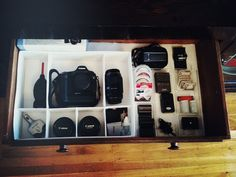 How to Make a Photography Gear Drawer — DIY Camera Equipment Storage. #photography #storage #DIY #organization #ikeahack