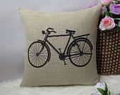 """1 linen simple bicycle / bike  throw pillow cover / decorative pillow case / cushion cover 18"""""""