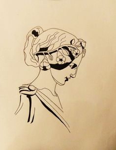 Greek and roman sculpture inspired. Black ink sketch by Mona King. Ancient bust. Tattoo idea. monakingart