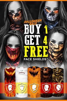 Buy 1 Face Shield - Pick Any 4 FREE! Ways to Wear, SPF 40 Microfiber, Stops Cold, Dust, & Allergens. Face Shields are the perfect outdoor headwear! Halloween Sale, Adult Halloween, Halloween 2018, Halloween Makeup, Happy Halloween, Halloween Party, Halloween Costumes, Halloween Pranks, Cool Masks