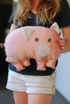 Silk Pink Pig Pillow by Ciaobeatrice on Etsy