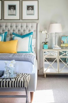 #bedroom #interiordesign #colorsinbedroom #springdecor #blue #yellow #grey #diybazaar