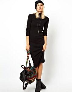 Image 4 of ASOS Midi Body-Conscious Dress In Rib With Polo Neck