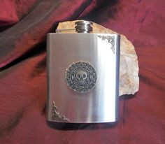Flask and Tobacco Pipe Stainless Steel Flask by mythicaljewelry