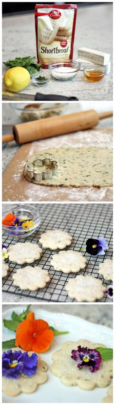 Lemon Basil Shortbread Cookies w/ Edible Flowers. No recipe for shortbread!!