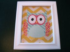 Framed Fabric Owl Wall Art