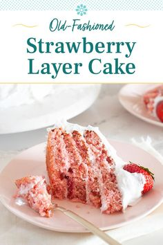 Strawberry Layer Cakes, Strawberry Recipes, Easy Delicious Recipes, Delicious Desserts, Yummy Food, Cake Recipes, Dessert Recipes, Keto Recipes, Vanilla Bean Frosting