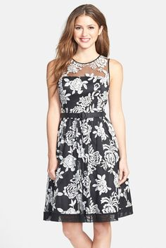 Floral Embroidered Fit & Flare Dress