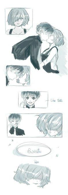 Haise x touka Kaneki Ken Drawing, Touka Kaneki, Tokyo Ghoul Pictures, Tokyo Ghoul Wallpapers, Tamako Love Story, Pierrot, Fan Anime, Okikagu, Love Illustration