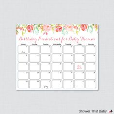 Floral Baby Shower Birthday Predictions - Printable Baby Shower Due Date Calendar & Birthday Guess - Pink and Gold Flowers - 0041