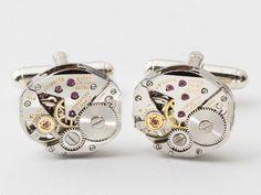Steampunk Cufflinks Wittnauer watch movements wedding anniversary grooms silver cuff links men jewelry#SteampunkCufflinks #SteampunkJewelry #SteampunkJewelrybyMariaSparks