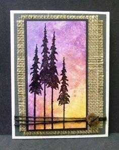 handmade card: Western Sky by hobbydujour ... squash method of inking acrylic block, pouncing with ink pad, spraying with water and pressing onto paper ... silhouette trees against a gorgeous sky ... twine and a button ... frayed burlap mat ... Western theme ... great card!!