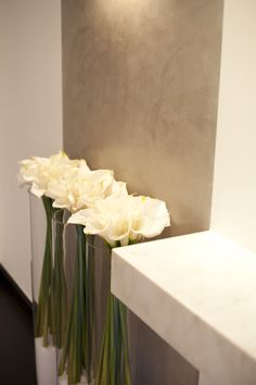 Stunning display against this polished plastered wall