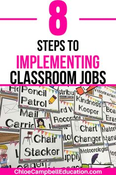Classroom jobs for elementary or middle school classrooms can change the way you run your classroom. Learn 8 steps and tips to implementing classroom jobs and see how your teaching style can change completely. Get ideas for classroom job charts, classroom Elementary Science Classroom, 3rd Grade Classroom, Middle School Classroom, Upper Elementary, Elementary Schools, Primary Classroom, Classroom Jobs Display, Classroom Job Chart, Classroom Management