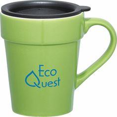 Habanera 10 Oz Ceramic Mug Tapered Design With White Lining Press On Plastic Lid Drink Opening