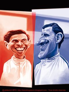 """Jim Clarck and Graham Hill, caricature released in my book """"Légendes du spot automobile"""""""