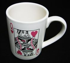 Hallmark Queen of Hearts Mug Coffee Cup Casino Gambling Card Deck Poker Vegas