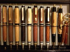 Assorted handmade wooden pens. Mostly cigar pens, one of my personal faves