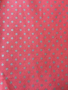 Coral Silver Metallic Dots Fabric