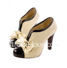 PU Leather Upper High Heel Ankle Boot With Bowknot