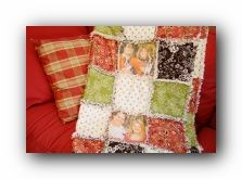 Rag quilt with pictures printed on printable fabric. This could make a cute baby blanket or gift for a mom or grandma.