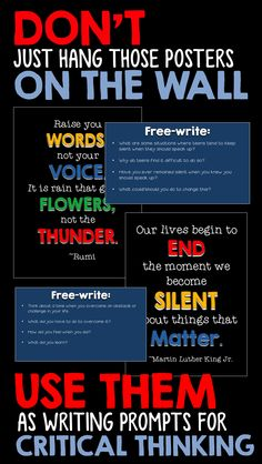 CLASSROOM DECOR: Classroom decor meets student inspiration.  Use these posters and writing prompts to get your students to think critically. HIGH SCHOOL ENGLISH, WRITING
