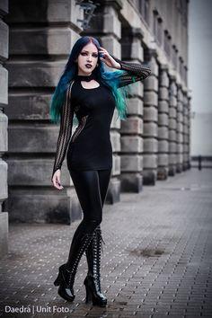 Vertical Stripes Black Gothic Top/Dress by Dark in Love