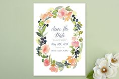 """Watercolor Wreath"" - Floral & Botanical Save The Date Cards in Grapefruit by Yao Cheng."