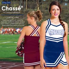 We've got NEW classic cheer uniforms, part of our Spring 2013 collection.    Shop now: http://www.cheerleadingonline.com/Uniforms/Chasse-Cheerleading-Uniforms/Classic-Cheer-Uniforms/